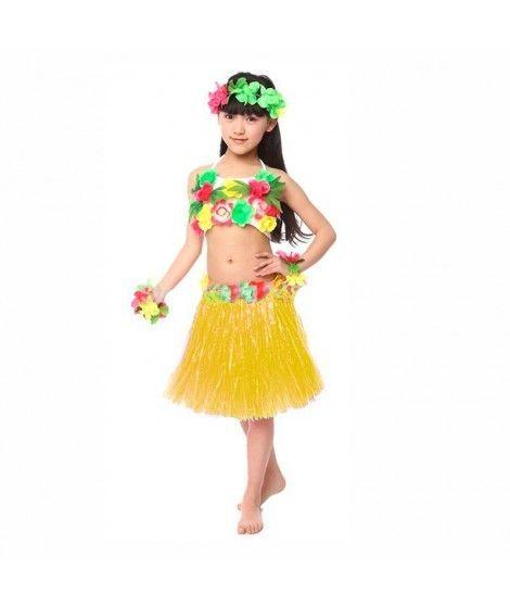 Falda Hawaiana Hula Infantil Amarilla (30 cm)