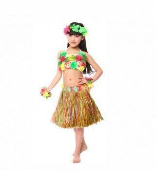 Falda Hawaiana Hula Infantil Multicolor (30 cm)