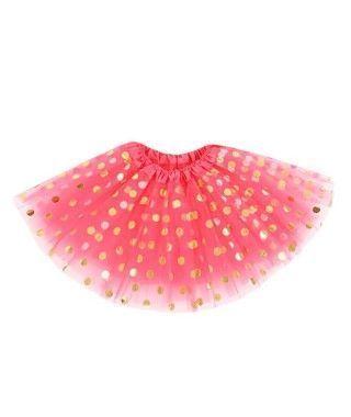 Tutú Rojo Sandía Topos Dorados 40 cm