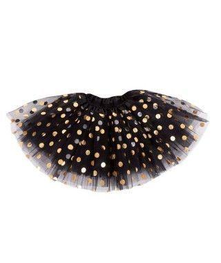 Tutú Negro Topos Dorados 40 cm