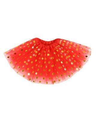Tutú Rojo Topos Dorados 40 cm