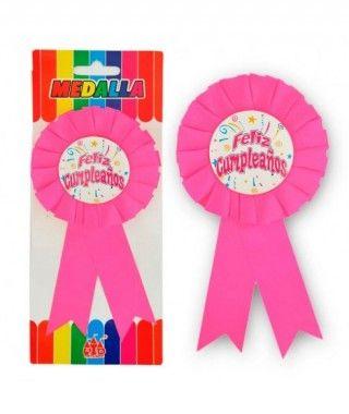 """Medalla Broche Rosa """"Feliz Cumpleaños"""" Regalo"""