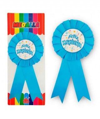 """Medalla Broche Azul """"Feliz Cumpleaños"""" Regalo"""