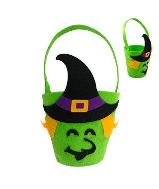 Cubo Chucherías Truco o Trato Halloween de Bruja