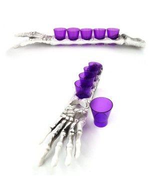 Vasos chupito (5 unidades) en soporte de Brazo de Esqueleto