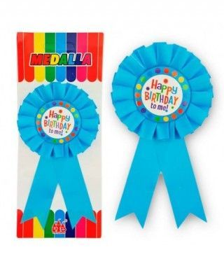 "Medalla Broche Azul ""Happy Birthday to Me"" Regalo"