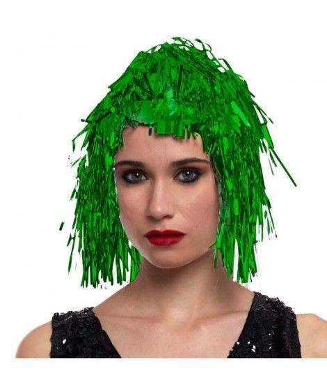 Peluca Metalizada Verde accesorio disfraz