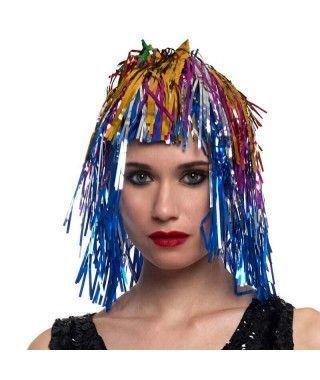 Peluca Metalizada Multicolor accesorio disfraz