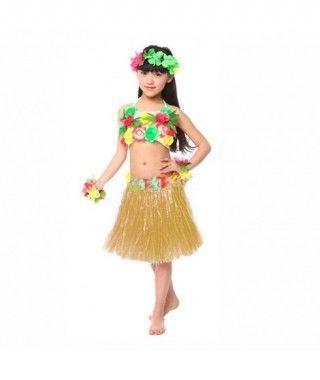 Falda Hawaiana Hula Infantil natural (30 cm)