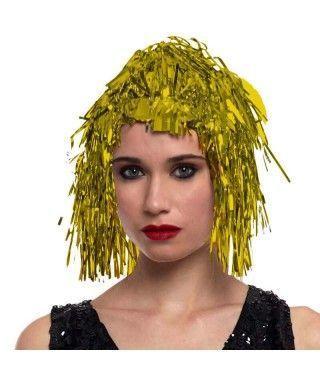 Peluca Metalizada Oro accesorio disfraz