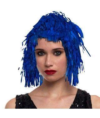 Peluca Metalizada Azul accesorio disfraz