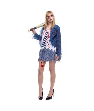 Disfraz Zombie Colegiala Azul para mujer
