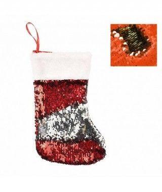 Calcetín Navidad para Colgar Lentejuelas Rojo Plata
