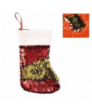 Calcetín Navidad para Colgar Lentejuelas Rojo Oro