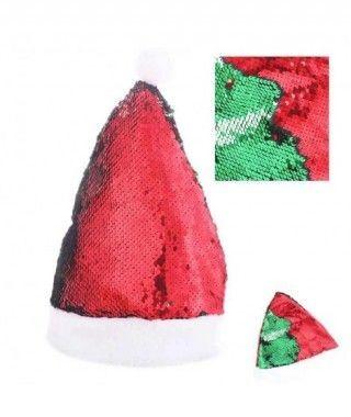 Gorro Papá Noel Lentejuela Reversible Verde Rojo
