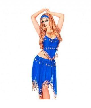Conjunto Danza del Vientre Azul Marino Top+Falda mujer adulto