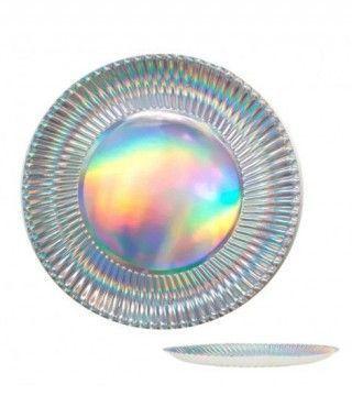 Plato Papel Plata Holograma (6 uds)(+ tamaños)