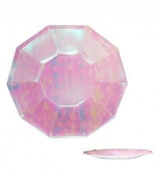 Plato Rosa Holograma Decágono Papel (6 uds)(+ tamaños)