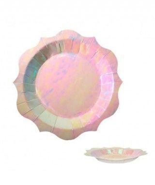 Plato Rosa Holograma Fantasía (6 uds)(+ tamaños)