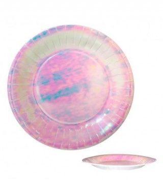 Plato Rosa Holograma Redondo (6 uds)(+ tamaños)