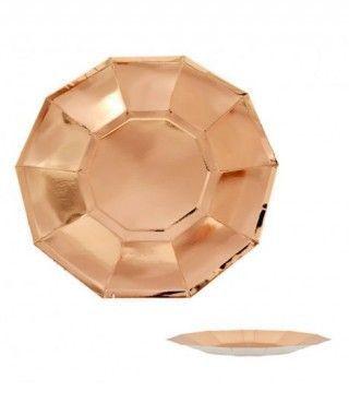 Plato Oro Rosa Decágono (6 uds)(+ tamaños)