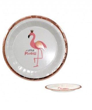 Plato Flamenco Rosa Redondo (6 uds)(+ tamaños)