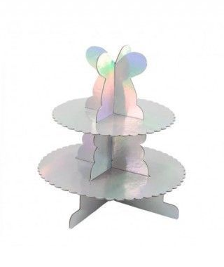 Torre Cupcakes Plata Holograma