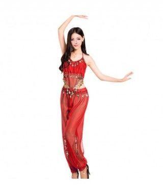 Conjunto Danza del Vientre Rojo Top+Pantalón mujer adulto