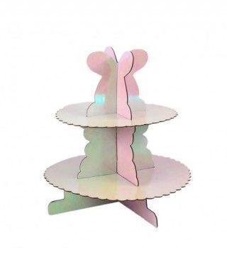 Torre Cupcakes Rosa Holograma