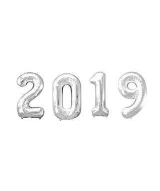 Globos de Números 2019 Plateados