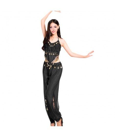 Conjunto Danza del Vientre Negro Top+Pantalón mujer adulto