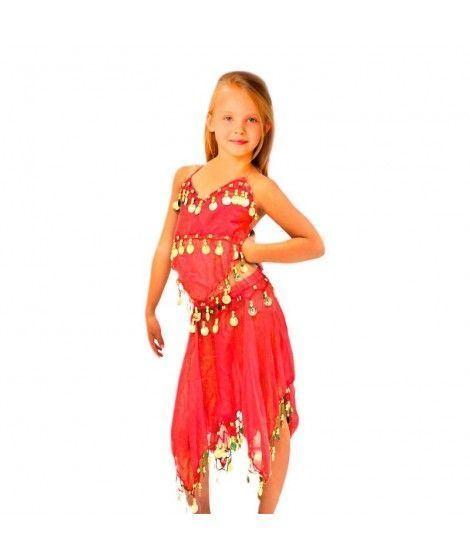 Conjunto Danza del Vientre Rojo Top+Falda niña infantil
