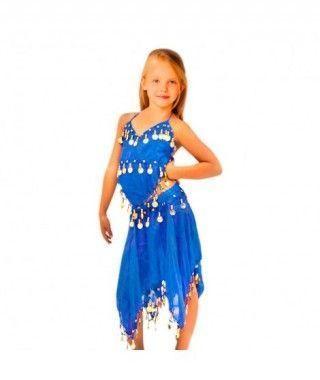 Conjunto Danza del Vientre Azul Marino Top+Falda niña infantil