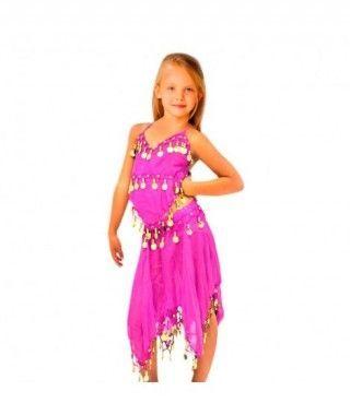 Conjunto Danza del Vientre Fucsia Top+Falda niña infantil