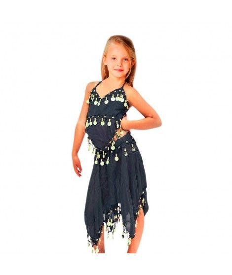 Conjunto Danza del Vientre Negro Top+Falda niña infantil