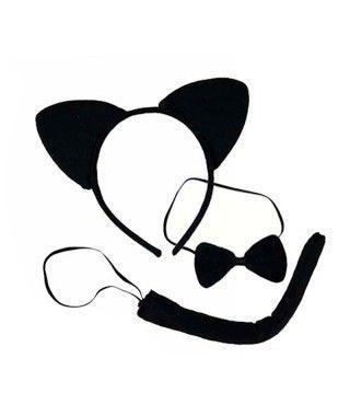 Conjunto de Disfraz Gato Negro (3 piezas) Diadema + Pajarita + Cola