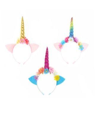 Diadema de unicornio Flores Tela