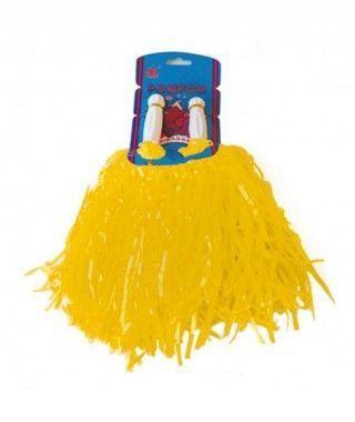 Pompón de Animadora Amarillo Mate (2 uds) Accesorio Carnaval