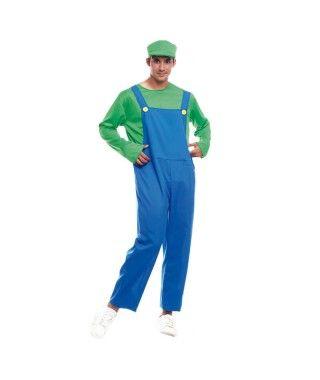 Disfraz Fontanero verde hombre adulto para Carnaval