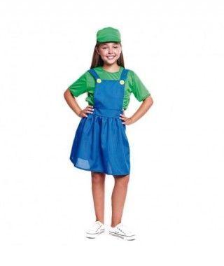 Disfraz Fontanera Verde Niña