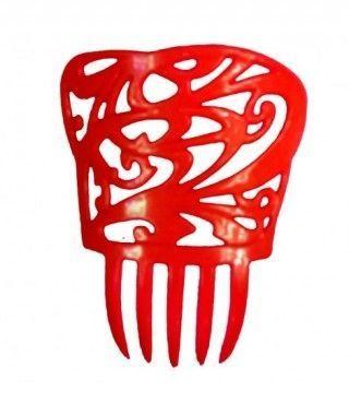 Peineta de Flamenco Cuadrada Roja