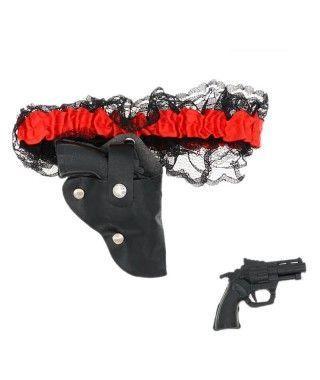 Liga con mini pistola del Salvaje Oeste o Piratas Accesorio Carnaval