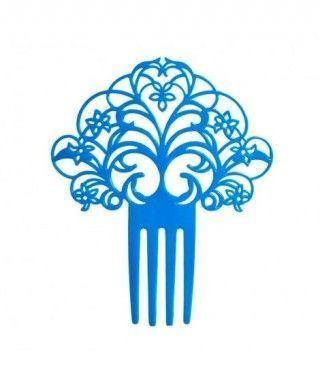 Peineta de Flamenco Abanico Azul