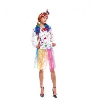 Disfraz Payasa Arco Iris Mujer