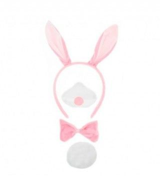 Conjunto Disfraz Conejo Rosa 4 pcs
