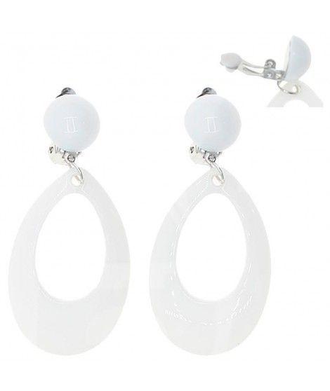 Pendientes Flamenca Blancos Ovalados