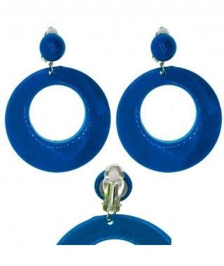 Pendientes Flamenca Azul Oscuro Aro