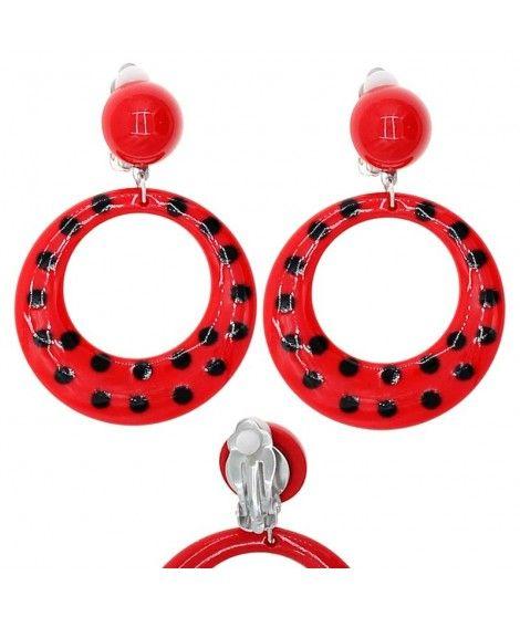 Pendientes Flamenca Rojos Topos...