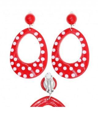 Pendientes Flamenca Rojos Topos Blancos Ovalados