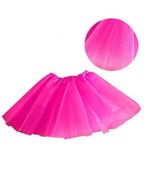 Tutú infantil fucsia purpurina bailarina 25 cm